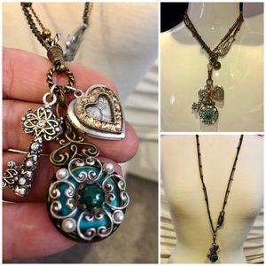 Jewelry - Vintage Antiqued Charms & Locket Longer Necklace
